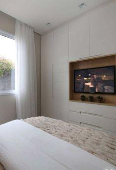 Bedroom Built In Wardrobe, Bedroom Built Ins, Bedroom Closet Design, Tv In Bedroom, Home Room Design, Master Bedroom Design, Home Decor Bedroom, Modern Bedroom, House Design