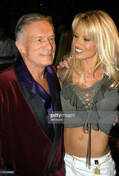 Hugh Hefner and Pamela Anderson during The Official Launch Party For Spike TV At The Playboy Mansion - Inside at The Playboy Mansion in Bel Air, California, United States.