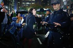 Policeman reacts to Trump protestor in New York