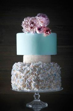 Beautiful Cake Pictures: Tiffany Blue & White Layered Wedding Cake with Flowers - Blue Cakes, Flower Cake, Wedding Cakes - Wedding Cakes With Cupcakes, Wedding Cakes With Flowers, Beautiful Wedding Cakes, Beautiful Cakes, Amazing Cakes, Cupcake Cakes, Beautiful Cake Pictures, Bolo Floral, Wedding Cake Pearls