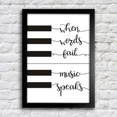 Poster When words fail music speaks - Encadreé Posters