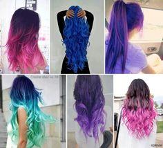 Pink purple blue hair