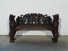 Antique black forest bear bench circa 1880 - Antique trading company belgium (atc-antiques)