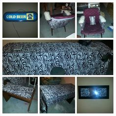 The zebra lounge, , desk - beer sign-chair-bar- bench seat and mirror