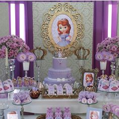 Decor Princess Sofia Birthday, Sofia The First Birthday Party, My Little Pony Birthday, 3rd Birthday Parties, Princess Party, Princesa Sophia, Bday Girl, Minnie Mouse Party, Wedding Table