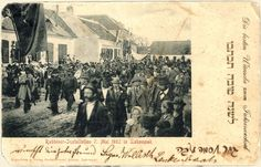 Pictured on this New Years card is a parade in the town of Lackenbach, Austria honoring the new Rabbi on May 7, 1902. By October of 1938, the Jewish community was officially closed down, some succeeded in emigrating or escaping. Most Jews however were sent to Vienna and from there to the east - Before the Holocaust