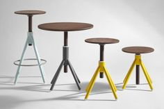 Thread is a family of portable furniture pieces that include a small stool, bistro table and a high stool. The top surfaces of each piece are connected through a visible wedge-joint system that rest on a colored steel base. Coordination designed Thread to be flexible and adaptable to the user's needs. (1)