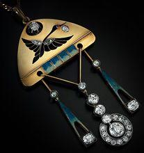 Faberge Diamond, Enamel, Gold Pendant 1899-1908 antique jewelry for sale
