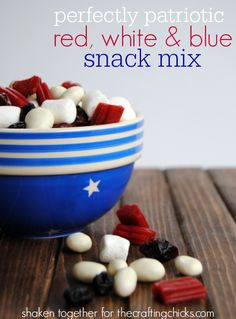 Red, white and blue snack mix!  Perfect to munch on while you watch fireworks or just serve a big bowl at your 4th of July party!