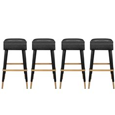 Set of Four Chic Bar Stools with Brass Sabots and Footrests | From a unique collection of antique and modern stools at https://www.1stdibs.com/furniture/seating/stools/