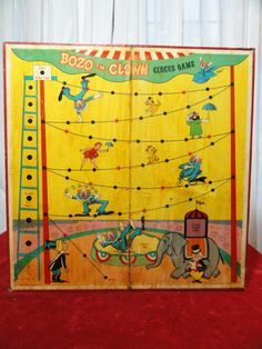 Vintage Game Board Circus Clowns Wall Hanging original 1960 $56