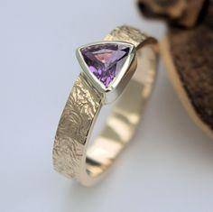 Purple trillion sapphire gold ring