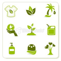 Green Eco Symbols Royalty Free Stock Vector Art Illustration