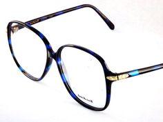 Big Square Eyeglasses Designer Anne Klein 80s Vintage / Womens Black and Blue Eyewear - LoveItSoMuch.com