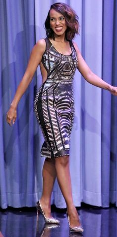 Kerry Washington in a studded abstract-print dress.