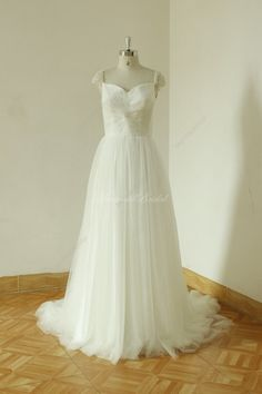 Ivory A line tulle wedding dress with crystal by MermaidBridal