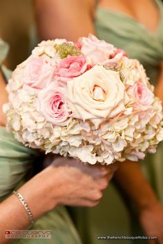 pink hydrangea and roses bouquet -