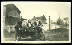 Vintage INDIAN MOTORCYCLE Photo 1920s women & little girl in SIDECAR - Two photos from the 1920s featuring women and their motorcycles — vintage Indian motorcycles & sidecars. But the ladies don't just sit in the sidecars. …Maybe little girls do. But not women. Photos via Lynnstudios.