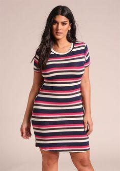 Plus Size Clothing | Plus Size Multi Colored Stripe Dress | Debshops