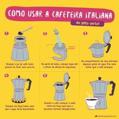 Cafeteira Italiana: como usar do jeito certo (sem amargar o café!) I Love Coffee, My Coffee, Coffee Drinks, Coffee Time, Coffee Shop, Life Hackers, Dining Etiquette, Tea And Books, Useful Life Hacks