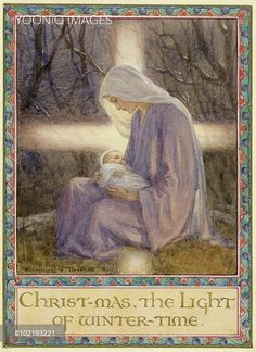 'Christmas the Light of winter time' - Mary and baby Jesus. The virgin Mary holding the baby Jesus in her arms. Christmas card.