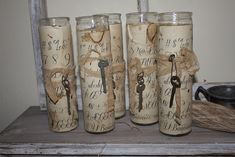 Shabby Chic Wrapped Candle Holders, Candle Crafts