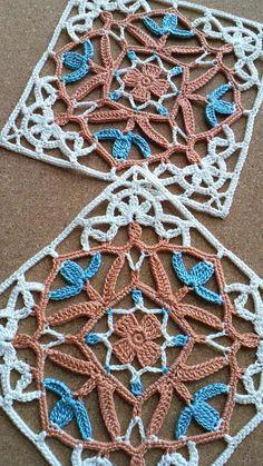 Felissimo Turkish Tile nº 6 Crochet Motif Patterns, Crochet Blocks, Crochet Squares, Crochet Doilies, Crochet Stitches, Knitting Patterns, Crochet Granny, Love Crochet, Vintage Crochet