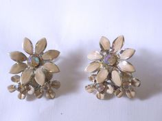 Vintage Enamel Flower Clip Earrings Signed BSK by CrowsNestJewels