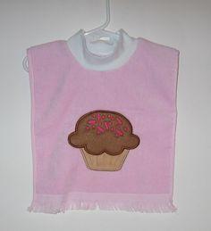 Bib, Large Baby Bib, Cupcake, Muffin, Pullover Bib, Towel Bib, Absorbent Bib, Many Colors, Terrycloth Velour, Baby Girl Gift, Toddler Gift