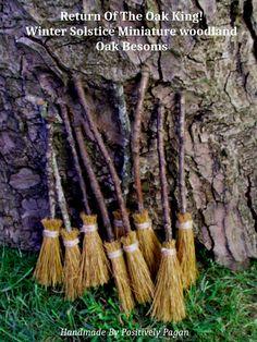 Handmade Oak Miniature Altar Besom Winter Solstice Yule Oak