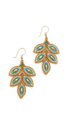 Miguel Ases Beaded Leaf Earrings. I'm guessing brick stitch. Might be easier than it looks.