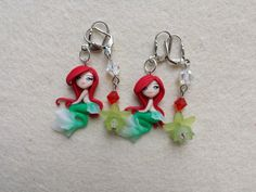 Ariel earrings fimo, polymer clay