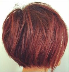 Layered Red Bob Here is a layered short bob hairstyle with red hair color that is suitable for women of all ages.