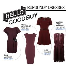 """Hello Good Buy: Burgundy Dresses"" by polyvore-editorial ❤ liked on Polyvore featuring Miss Selfridge, Yumi, D&G, Maison Rabih Kayrouz, burgundydress and HelloGoodBuy"