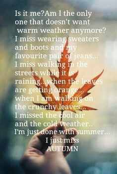 God, yes!!! I want a real Fall season so badly! The best part of Fall is anticipating it and remembering what it used to be like. Here in southern Kansas, Fall is just more warm weather.
