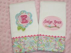 This adorable set includes 2 personalized baby burb cloths made to order. The burp cloths are high quality 6-ply diaper cloths with an