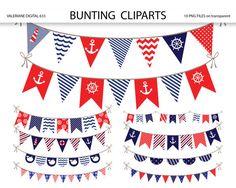 Nautical Bunting banner clipart nautical by ValerianeDigital, $3.00
