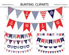 Bunting Banner Cliparts, nautische Clipart bunting, bunting Banner Clipart Pack für Einladungen, Scrapbooking  SOFORT-DOWNLOAD: Sobald Zahlung