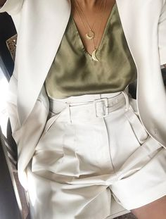 Best High-Street Short Suits: Monikh Dale wears a cream short suit shorts shorts shorts shorts outfits shorts Shorts Outfits Women, Short Outfits, Trendy Outfits, Summer Outfits, Look Blazer, Blazer And Shorts, Nike Shorts, Yellow Shorts Outfit, Long Shorts