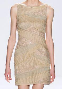 Tadashi Shoji Silk Chiffon With Illusion Beaded Lace Champagne Dress