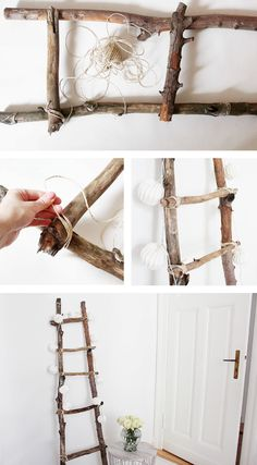 Decoration ladder DIY Tutorial diy home decor wood Dekoleiter Selber Bauen Diy Ladder, Ladder Decor, Ladder Storage, Wood Ladder, Upcycled Home Decor, Diy Home Decor, Deco Nature, Diy Tutorial, Diy Furniture