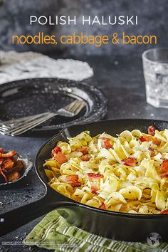 A warming addition to your winter dinners, this classic Polish Haluski is a wonderful hearty dish of noodles, fried cabbage, and bacon. Cabbage And Noodles, Cabbage And Bacon, Cabbage Recipes, Fried Cabbage, Cabbage Soup, Yummy Pasta Recipes, Cooking Recipes, Skillet Recipes, Supper Recipes