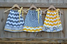TRIPLETS or Sisters Coordinating Chevron & Polka Dot Pillowcase Dresses for Babies and Children. THREE dresses. Great Easter Dresses.. $60.00, via Etsy.