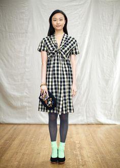 手織りギンガム・ドレス