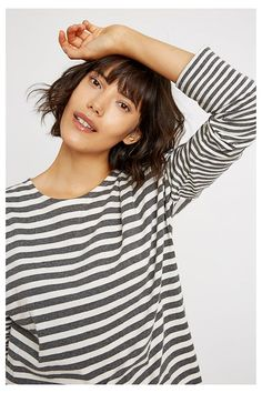 4d273e81f541 Organic long-sleeved top. Snooze in style with a classic stripe top with  extra
