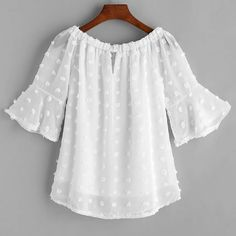 SheIn offers White Boat Neck Dotted Jacquard Chiffon Top & more to fit your fashionable needs. Stylish Dresses, Casual Dresses, Casual Outfits, Girls Dresses, Cute Outfits, Blouse Styles, Blouse Designs, Lace Tops, Chiffon Tops