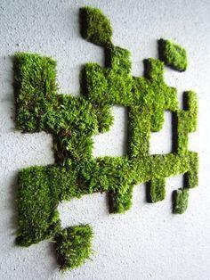 Des œuvres d'art et des tags en mousse végétale