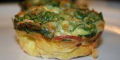 Dejlige æggemuffins med spinat og sprød bacon. Ideelle til både morgenmad, brunch eller frokost.