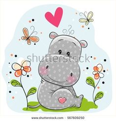 Cute Hippo with flowers and butterflies on the meadow