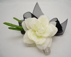 Gardenia Wrist Corsage with Black Ribbon Silk by FlowersForThought, $19.00